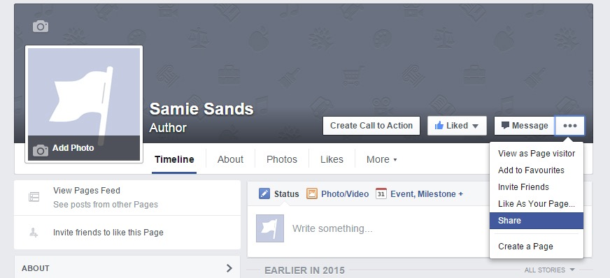 Sharing your Facebook author page