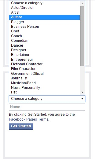 Facebook author page category