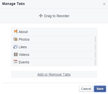 Manage page tabs
