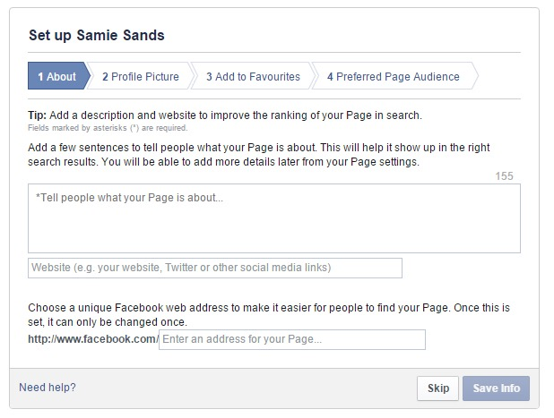 Set up facebook author pages
